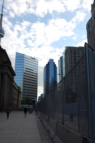 Union Station and the fence near Bay Street.